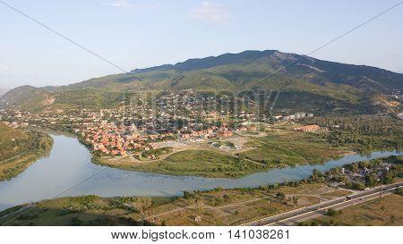 View of Mtskheta, the confluence of the Mtkvari and Aragvi
