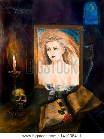 Portrait of girl and magic items. Oil painting.