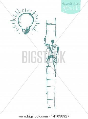 Man, climbing on a stair in the sky. Successful career concept, challenge. Vector illustration, sketch