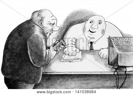 Man petitioner and bureaucrat . Caricature drawn with a pencil