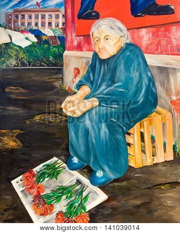 Old woman sells flowers on the street. Oil painting