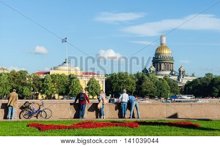 Saint-Peterburg view on Saint Isaac cathedral. Summer time