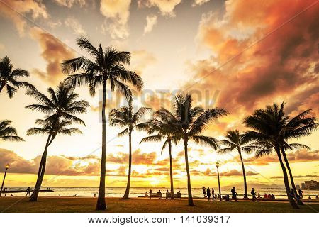 Gorgeous colorful golden hour sunset at Waikiki Beach in Honolulu, Hawaii