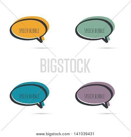 Set hand drawn speech bubbles. Vector frame. Text box. Multicolor, purple, blue green yellow