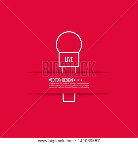 Journalism concept. Live news template with microphone. Symbol breaking news on TV and radio. Journalist, interview, reporter, press, interviewer, mass media, paparazzi mic Vector