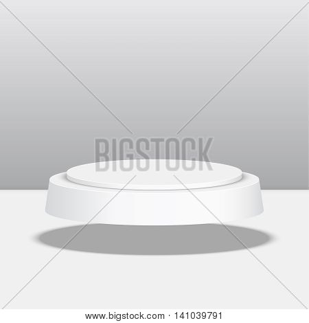 Round pedestal for display. Platform for design. Realistic 3D empty podium