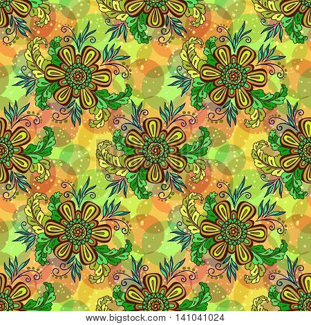 Seamless Background with Tile Floral Pattern, Green Symbolic Flowers and Leafs and Abstract Ornament. Eps10, Contains Transparencies. Vector