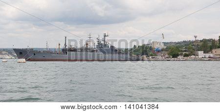 RUSSIA,SEVASTOPOL - JUNE 13, 2014:The ships of the Navy of Russia in Sevastopol Bay