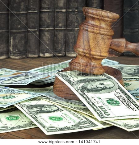 Auction Or Trial Concept With Judges Gavel And Money Heap