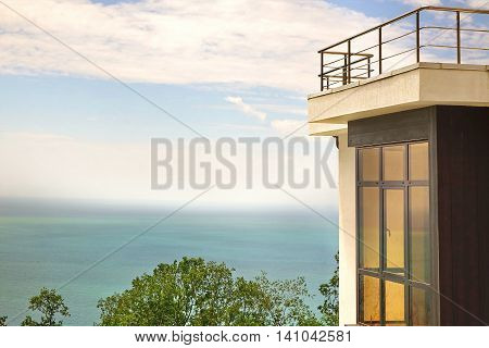 Bay Window In Villa White Concrete Wall And Roof Terrace