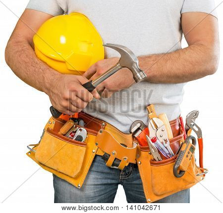 Handyman with a tool belt. House renovation service