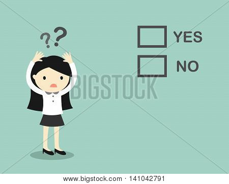 Business concept, Business woman is confused about 'yes' and 'no'. Vector illustration.