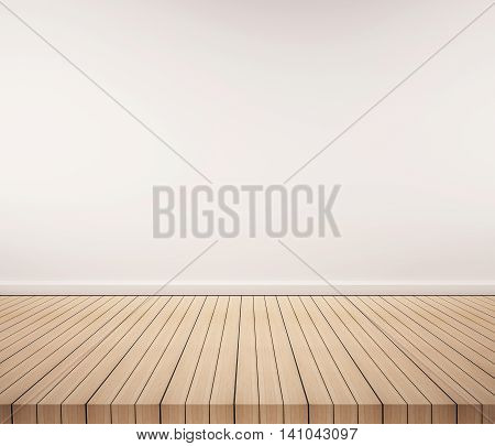 Oak wood floor with white wall, interior empty space