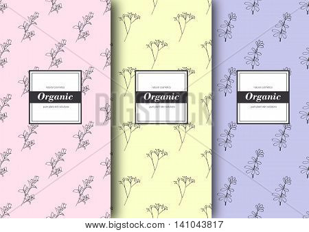 Set of labels, packaging for organic shop or natural cosmetics. Vector floral patterns with tender colours. Template for packing product.