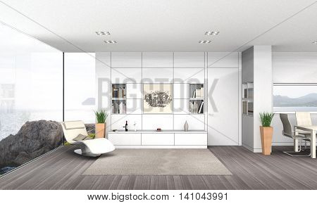 fictitious 3D rendering of a modern seaside living and dining room