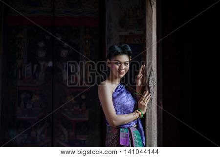 Beautiful Thai Girl In Thai Traditional Costume. Ayuttaya Style. ,identity Culture Of Thailand,thai