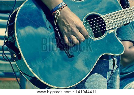 Street Musical Band Play Latin Music,  Close-up Of  Guitarist Hand