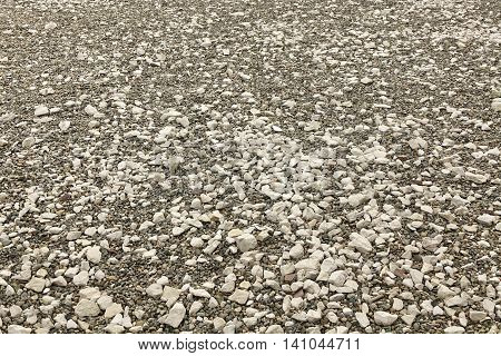 Perspective View On The Rocky Pebble Surface, Stone Background
