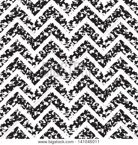 Seamless zigzag stripes pattern. Black and white grunge background.