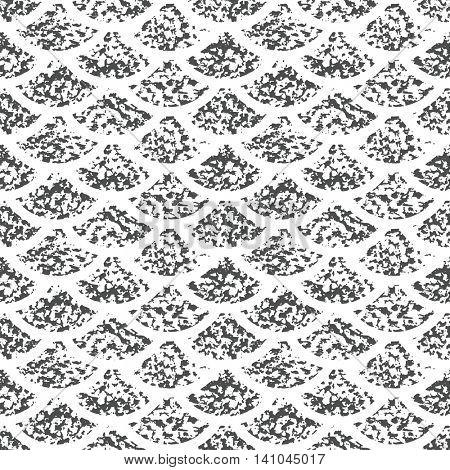 Seamless vector fish skin texture. Grunge wave pattern.