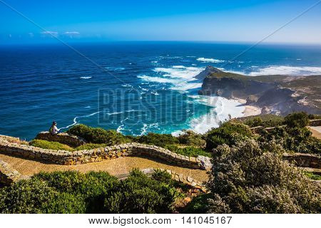 The most extreme south-western point of Africa. Cape of Good Hope in the Atlantic. Cape on the Cape Peninsula south of Cape Town, South Africa