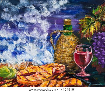 Grapes, red wine and grilled fish. Painting