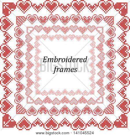 Set of frames with embroidered hearts for valentines cross-stitch