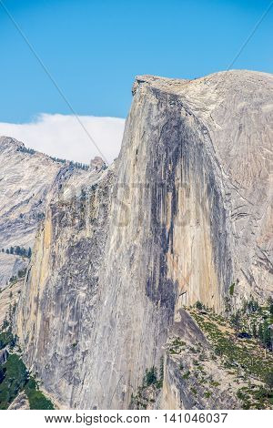 Closeup of Yosemite's half dome on a clear day