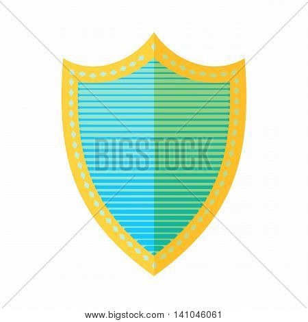 Combat shield icon in flat style isolated on white background. War symbol
