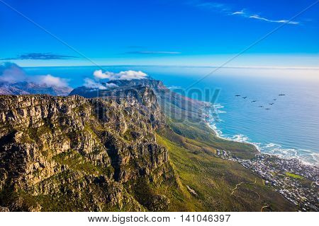 Top view of the Atlantic Ocean. National Park Table Mountain, South Africa, Cape Town