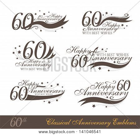 Anniversary 60th sign collection in classic style. Template of anniversary birthday and jubilee emblems with number editable and copy space on the ribbons.