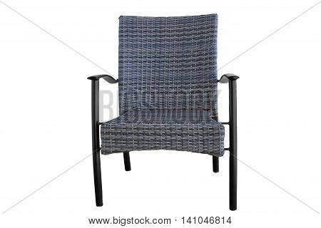 Outdoor Poly Rattan Dining Chair Isolated On White Background