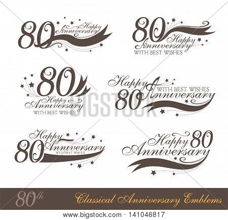 Anniversary 80th sign collection in classic style. Template of anniversary birthday and jubilee emblems with number editable and copy space on the ribbons.