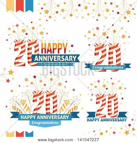 Anniversary 20th emblems with fireworks numbers sparklers and ribbons with congratulations. Set of 20th anniversary design elements.