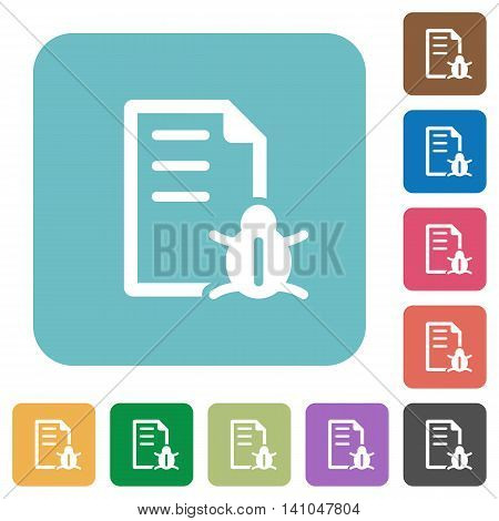Flat bug report icons on rounded square color backgrounds.