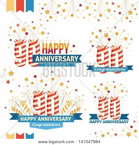 Anniversary 90th emblems with fireworks numbers sparklers and ribbons with congratulations. Set of 90th anniversary design elements.
