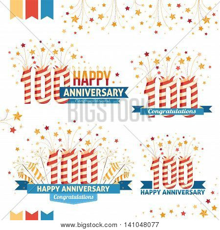 Anniversary 100th emblems with fireworks numbers sparklers and ribbons with congratulations. Set of 100th anniversary design elements.