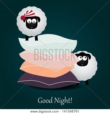 Cute cartoon sheep and colored pillows. Good night. Vector illustration.