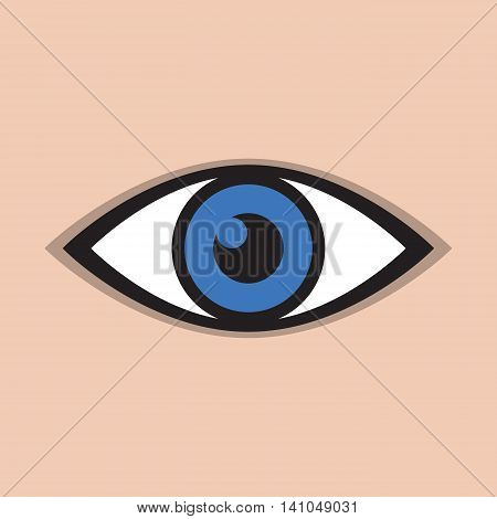 an abstract blue eye icon on a skin background