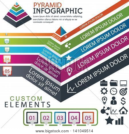 pyramid info graphic vector design and elements