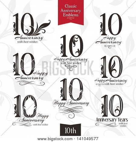10th anniversary emblems. Templates of anniversary birthday and jubilee symbols