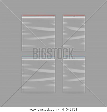 Vector Set of Sealed Empty Transparent Plastic Zipper Bag Close up Isolated on Background