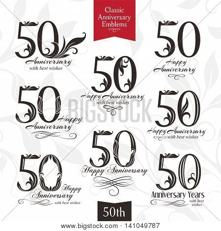 50th anniversary emblems. Templates of anniversary birthday and jubilee symbols
