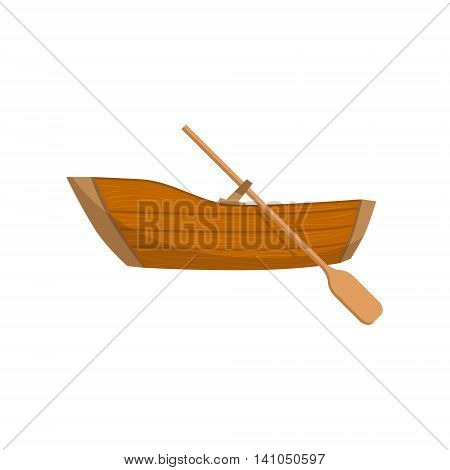 Wooden Boat With A Peddle Bright Color Cartoon Simple Style Flat Vector Illustration Isolated On White Background