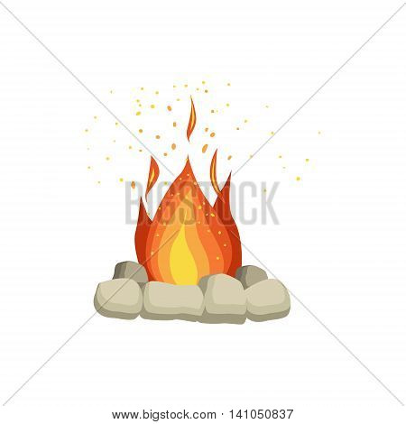 Bonfire With Rocks Surrounding Bright Color Cartoon Simple Style Flat Vector Illustration Isolated On White Background