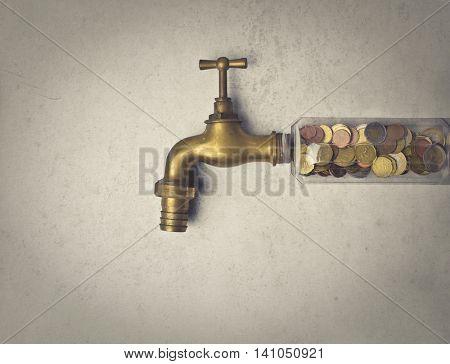 Faucet full of money
