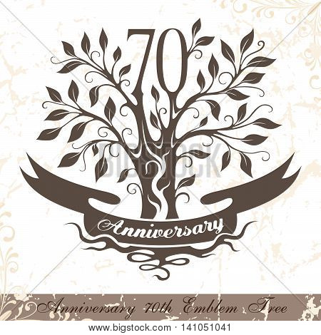 Anniversary 70th emblem tree in classic style. Template of anniversary birthday and jubilee emblem with copy space on the ribbon.