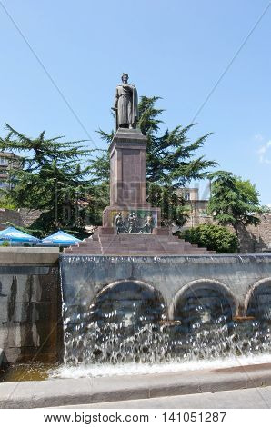 TBILISI, GEORGIA - AUGUST 7, 2013: The monument to the famous Georgian poet Shota Rustaveli Tbilisi. The Republic Of Georgia