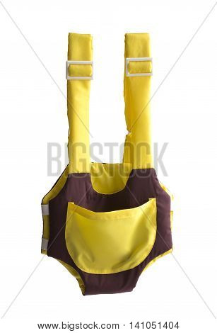 cute yellow and brown baby carrier isolated on white background