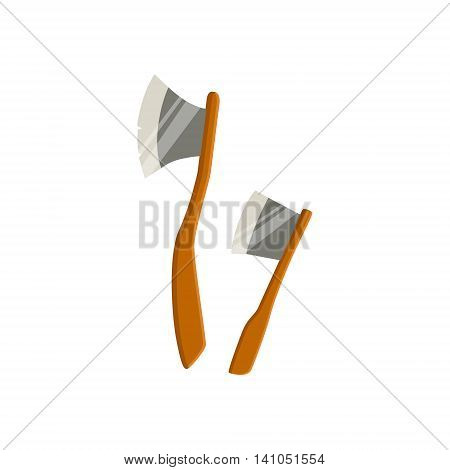 Two Axes For Chopping Wood For Camping Bright Color Cartoon Simple Style Flat Vector Illustration Isolated On White Background